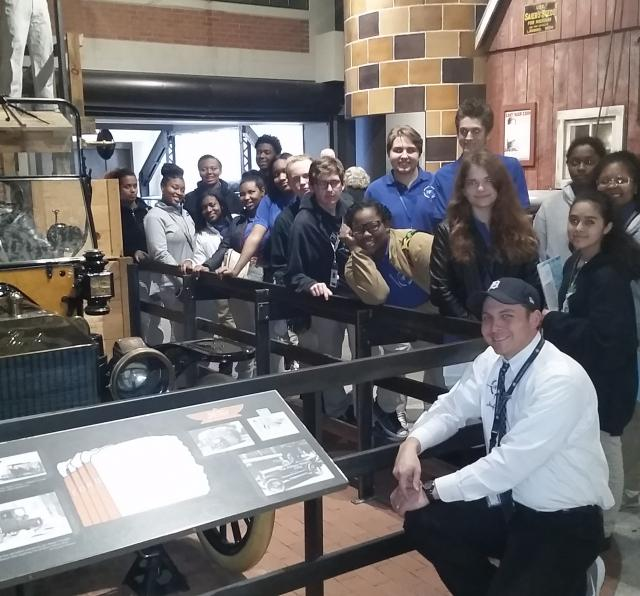 Mr. Koslowski with students in The Henry Ford