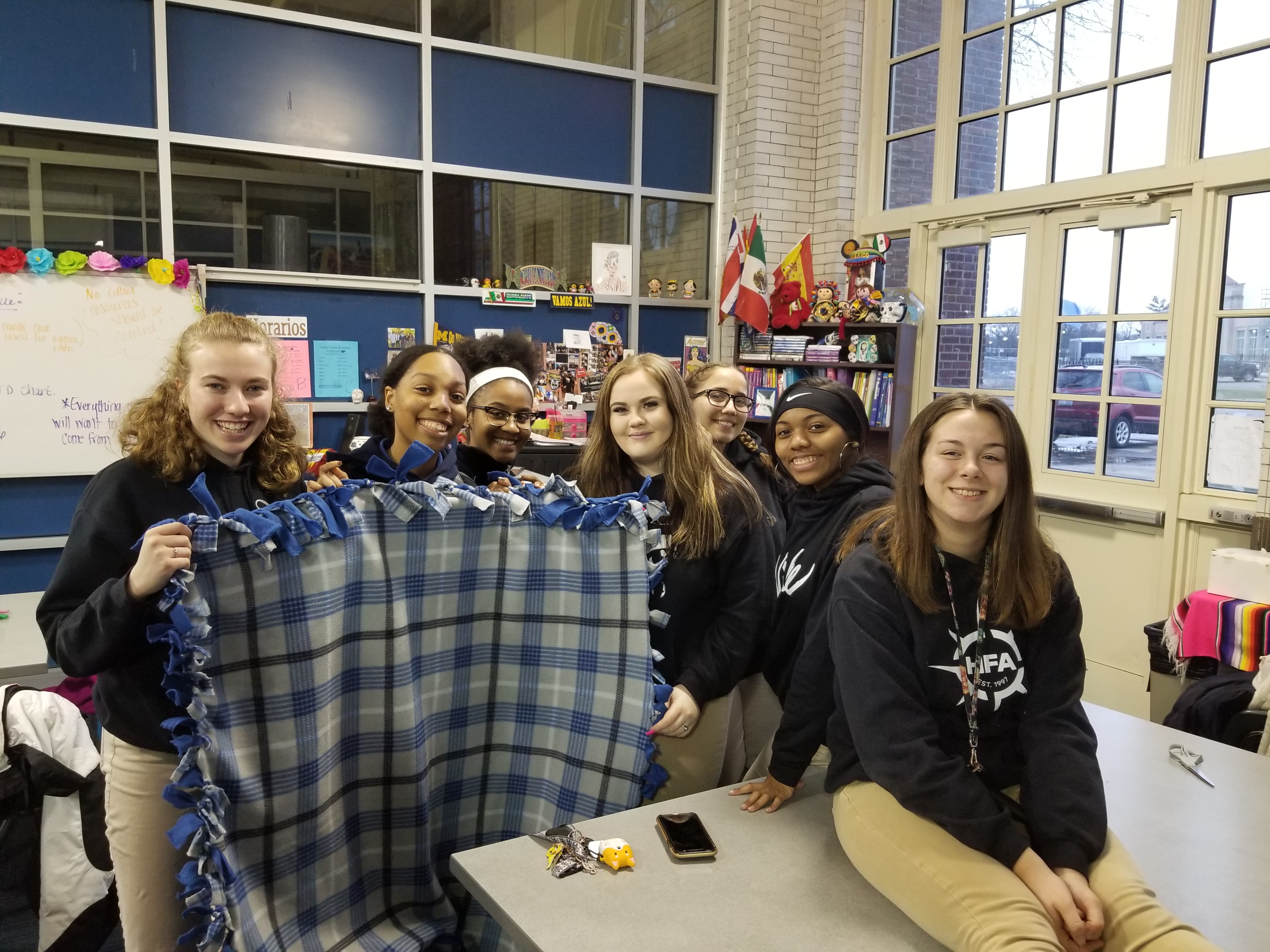 HFA Students posing after creating blankets for the needy