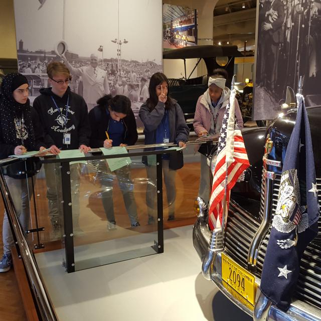 Students visiting the Presidential Cars at The Henry Ford.